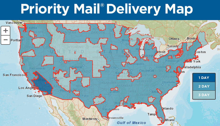 Usps Priority Mail Map New USPS Tool: Priority Mail Delivery Map   Stamps.Blog